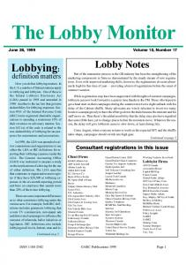 The Lobby Monitor. June 28, 1999 Volume 10, Number 17