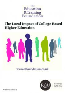 The Local Impact of College Based Higher Education