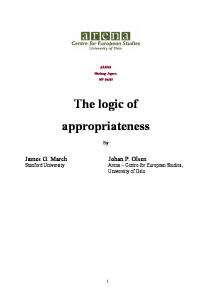 The logic of appropriateness