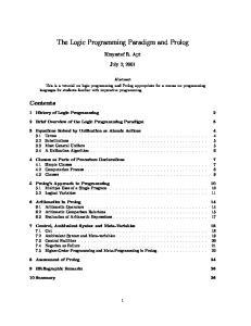 The Logic Programming Paradigm and Prolog