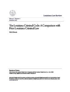The Louisiana Criminal Code: A Comparison with Prior Louisiana Criminal Law