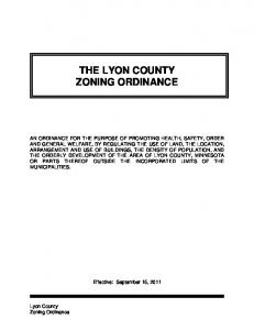 THE LYON COUNTY ZONING ORDINANCE