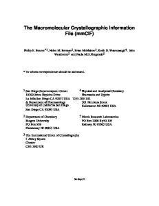 The Macromolecular Crystallographic Information File (mmcif)