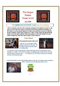 The Magee Family News Letter
