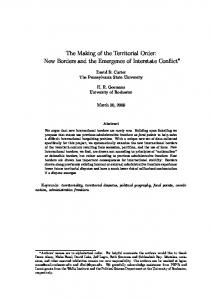 The Making of the Territorial Order: New Borders and the Emergence of Interstate Conflict