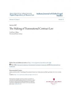 The Making of Transnational Contract Law