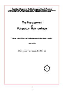 The Management of Postpartum Haemorrhage