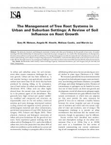 The Management of Tree Root Systems in Urban and Suburban Settings: A Review of Soil Influence on Root Growth