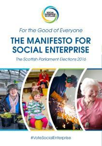 THE MANIFESTO FOR SOCIAL ENTERPRISE