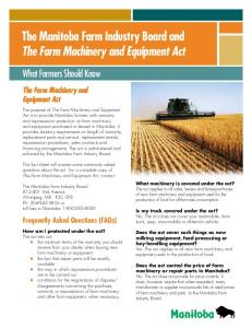 The Manitoba Farm Industry Board and