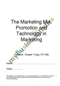 The Marketing Mix: Promotion and Technology in Marketing