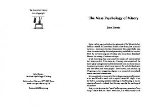 The Mass Psychology of Misery