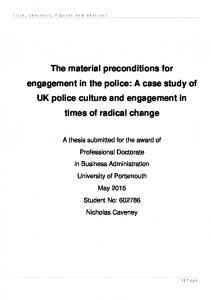 The material preconditions for engagement in the police: A case study of UK police culture and engagement in times of radical change