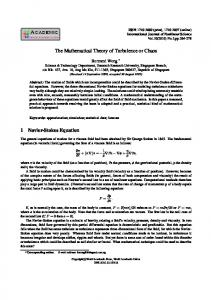 The Mathematical Theory of Turbulence or Chaos