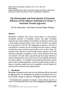 The Measurement and Determinants of Economic Efficiency of Microfinance Institutions in Ghana: A Stochastic Frontier Approach