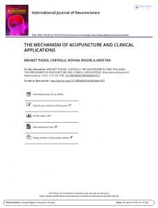 THE MECHANISM OF ACUPUNCTURE AND CLINICAL APPLICATIONS