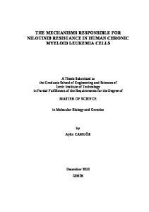 THE MECHANISMS RESPONSIBLE FOR NILOTINIB RESISTANCE IN HUMAN CHRONIC MYELOID LEUKEMIA CELLS