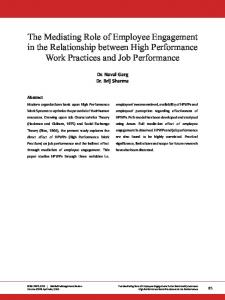 The Mediating Role of Employee Engagement in the Relationship between High Performance Work Practices and Job Performance