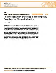 The mediatization of politics in contemporary Scandinavian film and television