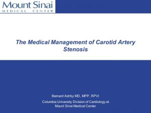 The Medical Management of Carotid Artery Stenosis