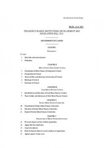 THE MICRO FINANCE INSTITUTIONS (DEVELOPMENT AND REGULATION) BILL, 2012