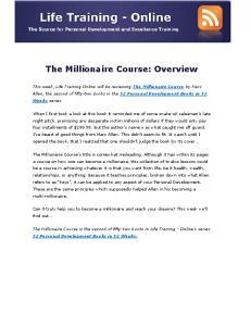 The Millionaire Course: Overview