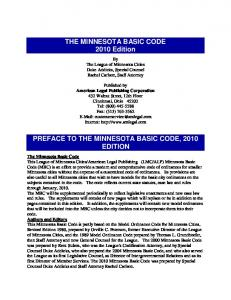 THE MINNESOTA BASIC CODE 2010 Edition PREFACE TO THE MINNESOTA BASIC CODE, 2010 EDITION