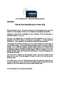 THE MIPIM AWARDS 2016 FINALISTS
