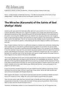 The Miracles {Karamah} of the Saints of God {Awliya Allah}