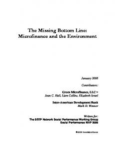 The Missing Bottom Line: Microfinance and the Environment