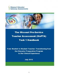 The Missouri Pre-Service Teacher Assessment (MoPTA) Task 1 Handbook
