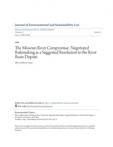 The Missouri River Compromise: Negotiated Rulemaking as a Suggested Resolution to the River Basin Dispute