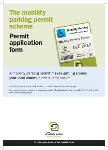 The mobility parking permit scheme Permit application form