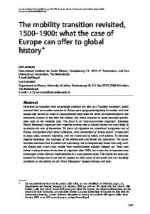 The mobility transition revisited, : what the case of Europe can offer to global history*