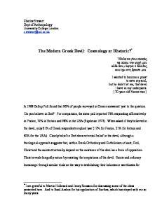 The Modern Greek Devil: Cosmology or Rhetoric? *
