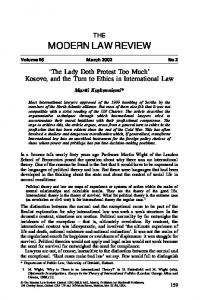 THE MODERN LAW REVIEW. The Lady Doth Protest Too Much Kosovo, and the Turn to Ethics in International Law