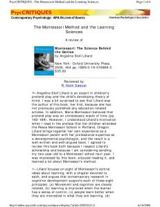 The Montessori Method and the Learning Sciences