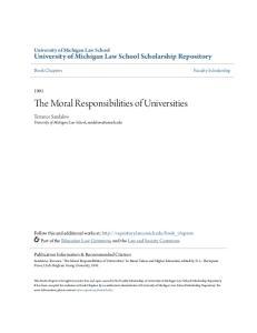 The Moral Responsibilities of Universities