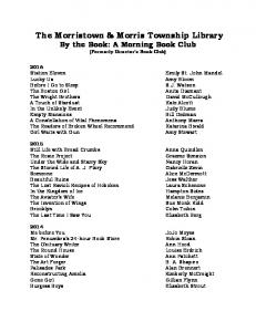 The Morristown & Morris Township Library By the Book: A Morning Book Club (Formerly Director s Book Club)