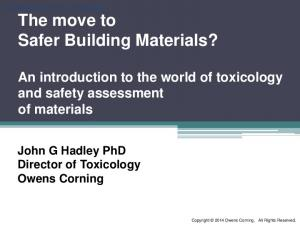The move to Safer Building Materials?