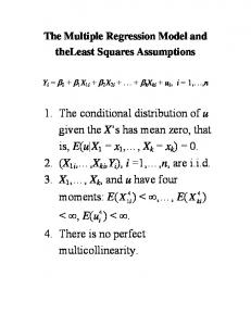 The Multiple Regression Model and theleast Squares Assumptions