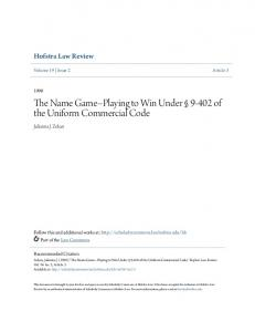 The Name Game--Playing to Win Under of the Uniform Commercial Code
