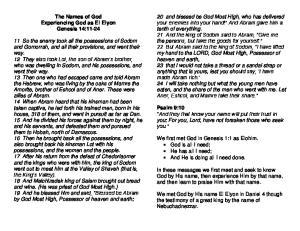 The Names of God Experiencing God as El Elyon Genesis 14:11-24