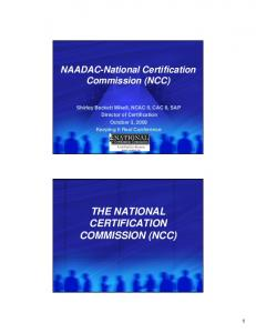 THE NATIONAL CERTIFICATION COMMISSION (NCC)