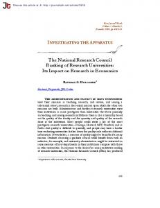 The National Research Council Ranking of Research Universities: Its Impact on Research in Economics