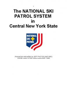 The NATIONAL SKI PATROL SYSTEM in Central New York State