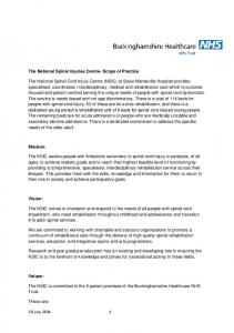 The National Spinal Injuries Centre- Scope of Practice