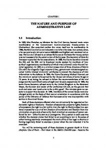 THE NATURE AND PURPOSE OF ADMINISTRATIVE LAW