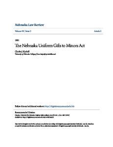 The Nebraska Uniform Gifts to Minors Act