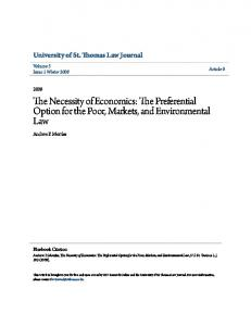 The Necessity of Economics: The Preferential Option for the Poor, Markets, and Environmental Law